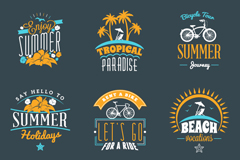 Link to9 blue and yellow color scheme of the summer holidays label vector