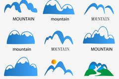 Link to9 blue mountain logo design vector