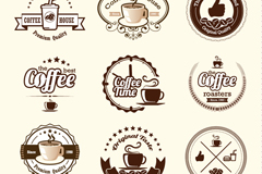 9 brown coffee tags design vector