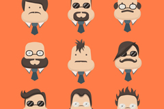 Link to9 business man portrait pear-shaped face vector