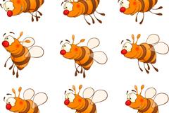 9 cartoon bee design vector