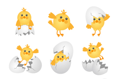 Link to9 cartoon chick and egg shell vector