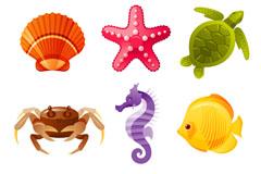 9 cartoon marine design vector