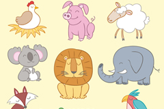 Link to9 cartoon smiley animals vector