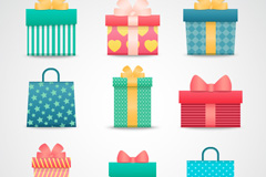 Link to9 color gift box and bag vector