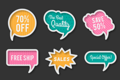 Link to9 color promotional language bubbles vector