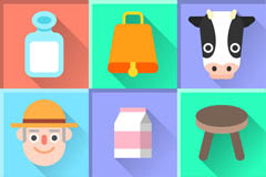 9 creative cow element icon vector
