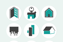 9 creative home sticker icons vector