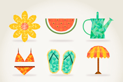 9 creative summer element icon vector