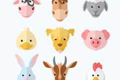Link to9 cute animal avatar vector illustration