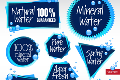 Link to9 dark blue mineral water label vector