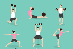 Link to9 fitness character design vector graph