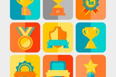 Link to9 flat trophy medal design vector