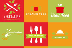 Link to9 fresh vegetarian food logo vector
