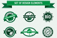 Link to9 green and organic food label vector diagrams