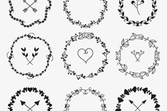 Link to9 hand-painted tree wreath vector