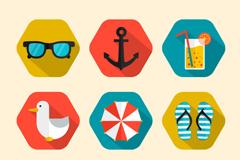 9 hexagon holiday icons vector