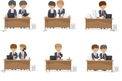 Link to9 office characters icon vector