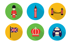 9 round london element icon vector