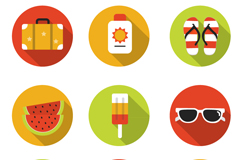 Link to9 round summer holiday icons vector