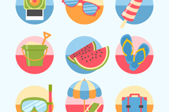9 round summer icon vector