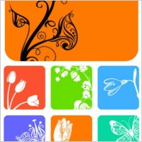 Link to9 small flower pattern silhouette vector