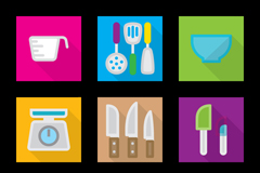 Link to9 square kitchen supplies icon vector