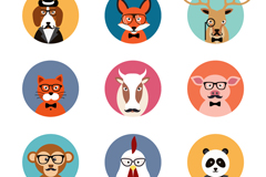 Link to9 stylish animal avatar vector illustration