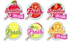 Link to9 summer fruit juice labels vector