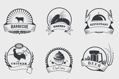 Link to9 vector retro food labels
