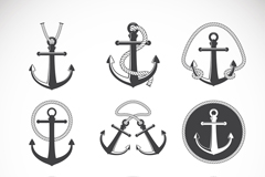 Link to9 vintage anchor design vector
