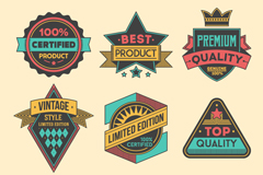 Link to9 vintage quality tags design vector