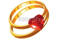 Link toA beautiful heart-shaped diamond ring eps vector