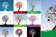 Link tovector tree abstract the season and hue different of set beautiful A