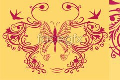 Link tovector silhouettes swallows and pattern butterfly A