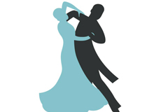 Link toA dancing male and female silhouettes vector