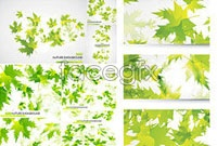 Link toA few green leaves background banner vector