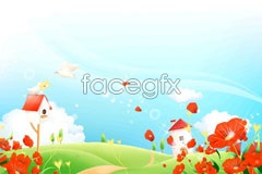 Link toA full of fantastic scenery on the outskirts of color vector