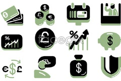 Link toA group of business-style financial icon vector