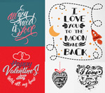 A handwritten valentine's day theme vector