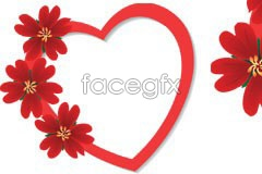 Link toA simple and elegant-red flowers decorate the heart-shaped vector