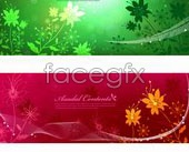 Link toA variety of fantasy floral banner background vector