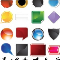 Link toA variety of graphical icons and female silhouette vector