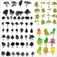 Link toA variety of trees silhouette vector