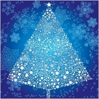 Link toAbstract christmas tree with snowflake vector art