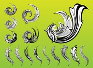 Link toAbstract swirls and leaves vector free