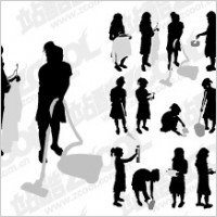 Link toAction figures do housework silhouette vector material