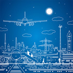 Link toAircraft and urban illustration vector