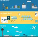 Airport elements banner vector