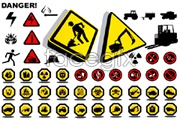 Link toAll kinds of construction safety warning signs vector